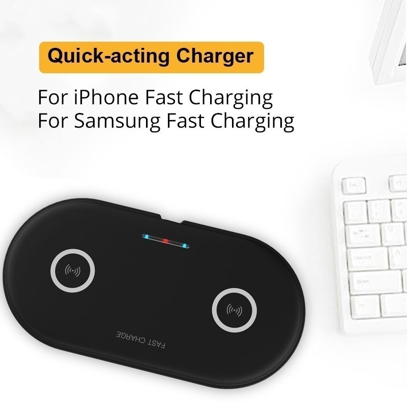 20W 2in1 Qi Wireless Charger For iphone 11 XS MAX X 8 Dual 10W fast Charging