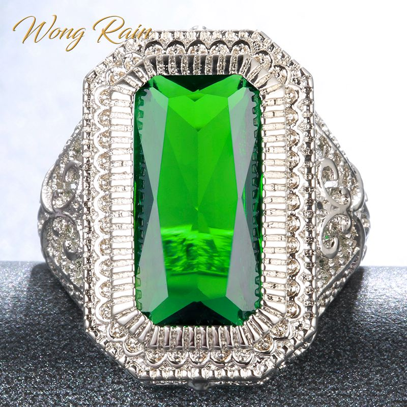 Wong Rain Vintage 100% 925 Sterling Silver Emerald Gemstone Wedding Engagement Party White Gold Ring Fine Jewelry Wholesale