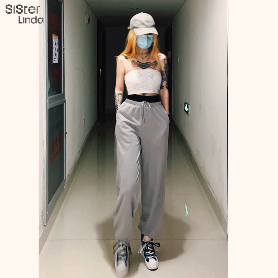 Sisterlinda Patchwork Streetwear Pant Sweatpants Women High Waist Drawstring Jogger Pants LooseTrousers For Women Mujer 2020 New