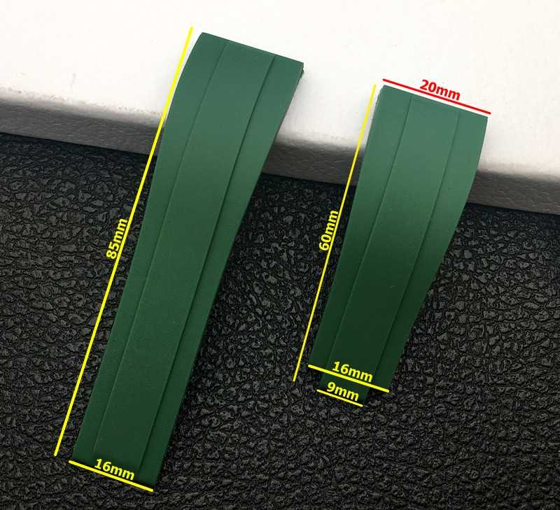 Merek Mewah Hitam Hijau 20 Mm Silikon Karet Gelang Jam untuk Menonton Band Peran Tali Daytona Submariner GMT Tali Jam Oysterflex