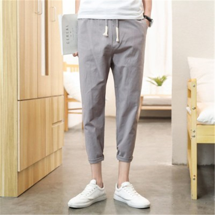 2019 Summer New Style Men Cotton Linen Capri Pants Japanese-style Solid Color Simple Breathable Casual Capri Pants Men's