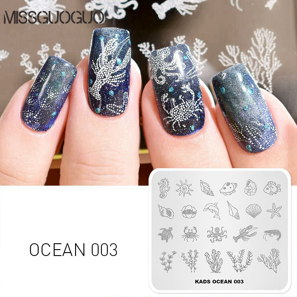 Ocean Image Nail Stamping Plate Coral Shell Conch Starfish Pattern Rectangle Nail Stamp Plate Manicure Printing Stencil Tools