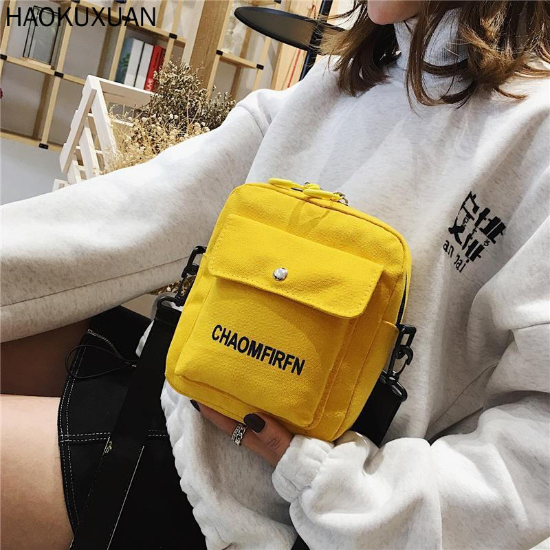 INS Canvas Small Bag Female New Flap Korean -style Versatile Students GIRL Shoulder Bags Street