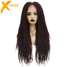 Hair-Wig Braiding Twists Lace-Front Synthetic Baby-Hair Colored Long Straight with X-TRESS