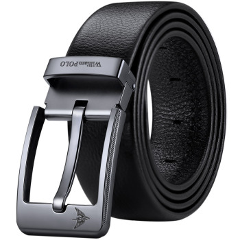 WilliamPolo Cowskin leather luxury strap male belts for men new fashion classice vintage pin buckle men belt High Quality 1
