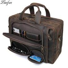 """Многофункциональный мужской портфель Crazy horse из натуральной кожи 1"""", деловая сумка для ноутбука, винтажная Мужская большая сумка на плечо, дорожная сумка"""