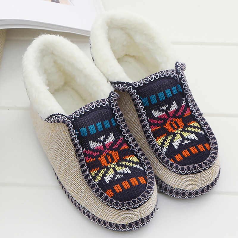 Winter Weave Slippers Vrouwen Katoen Korte Pluche Indoor Warme Schoenen Vrouw Antislip Etnische Thuis Slippers Voor Vrouwen Zachte Slipper