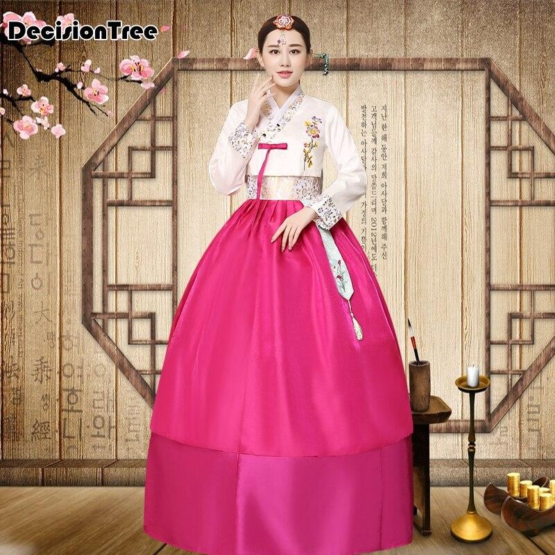 2019 Women Short Hanbok Female Korean Dress Ethnic Costumes Embroidered Korean Traditional Dance Dress Cosplay