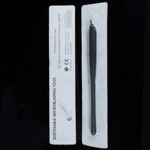 10 pces microblading descartável preto da composição permanente canetas ferramentas manuais com 7/12/14/17/18u pinos agulhas lâminas do bordado
