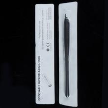 10pcs permanente make up zwart wegwerp microblading pennen handgereedschap met 7/12/14/17/18U pins naalden borduurwerk blades