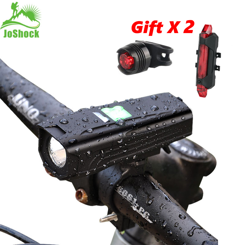 JoShock Bicycle Light 10000 LM 5Modes T6 LED Cycling Front USB Flashlight Waterproof Lamp By 18650 Battery With Taillight title=
