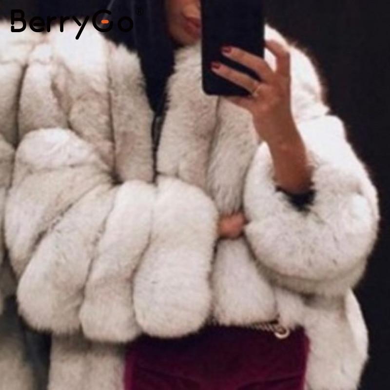 BerryGo Fashion Thick Faux Fur Coat Women Streetwear Plus Size 5XL Lady Furry Jacket Luxury Autumn Winter Female Warm Overcoats