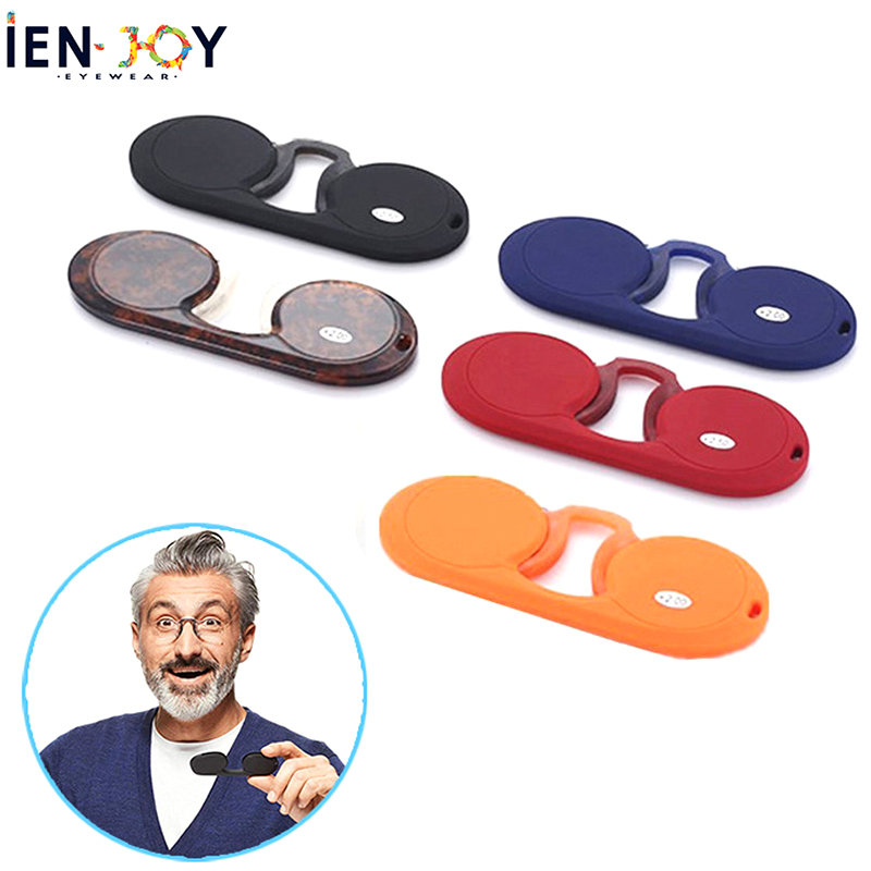 IENJOY Men Women Reading Glasses Mini Nose Clip Reading Glasses Mini Reader Wallet Portable Legless Eyeglasses With Case