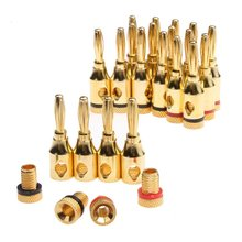 20Pcs 4mm 24k Gold-Plated Musicale del Legare del Cavo Audio Spina A Banana Speaker Connector Placcato Musicale Altoparlante cavo di Filo Spille Connettore(China)