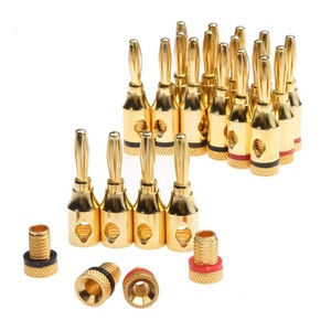 20Pcs 4mm 24k Gold-Plated Musical Cable Wire Banana Plug Audio Speaker Connector Plated Musical Speaker Cable Wire Pin Connector(China)