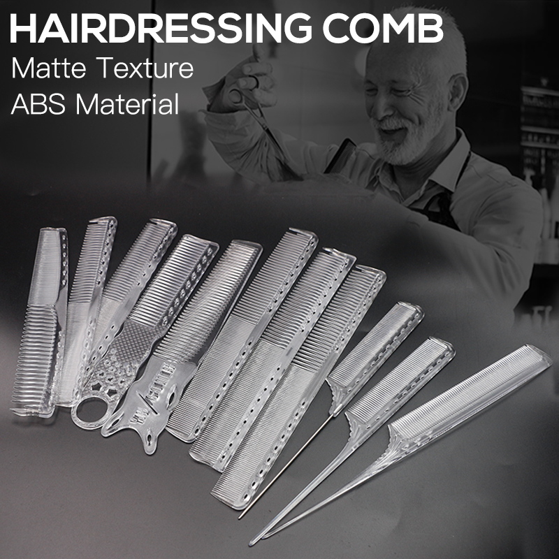 Transparent Cutting Hair Comb Hair Stylist Barber Comb Anti-static Cutting Comb Professional Hairdresser Comb Tool Hair Comb