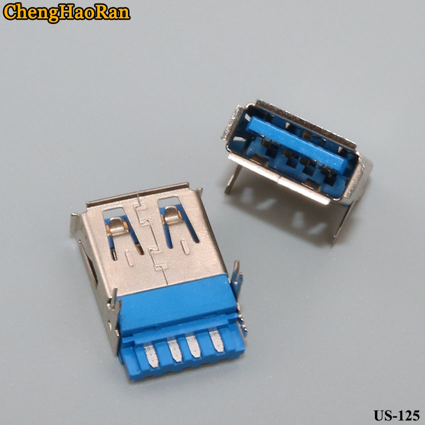 ChengHaoRan 2pcs/lot USB A Female AF 3.0 Wire Blue Plastic USB Super High Speed Connector Connector USB3.0 High Speed Female