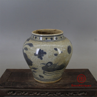 Ming Mandarin Duck Lotus Pattern Blue and White Pot Antique Vase Decoration Porcelain Collection Home Decor Retro Home Ornaments