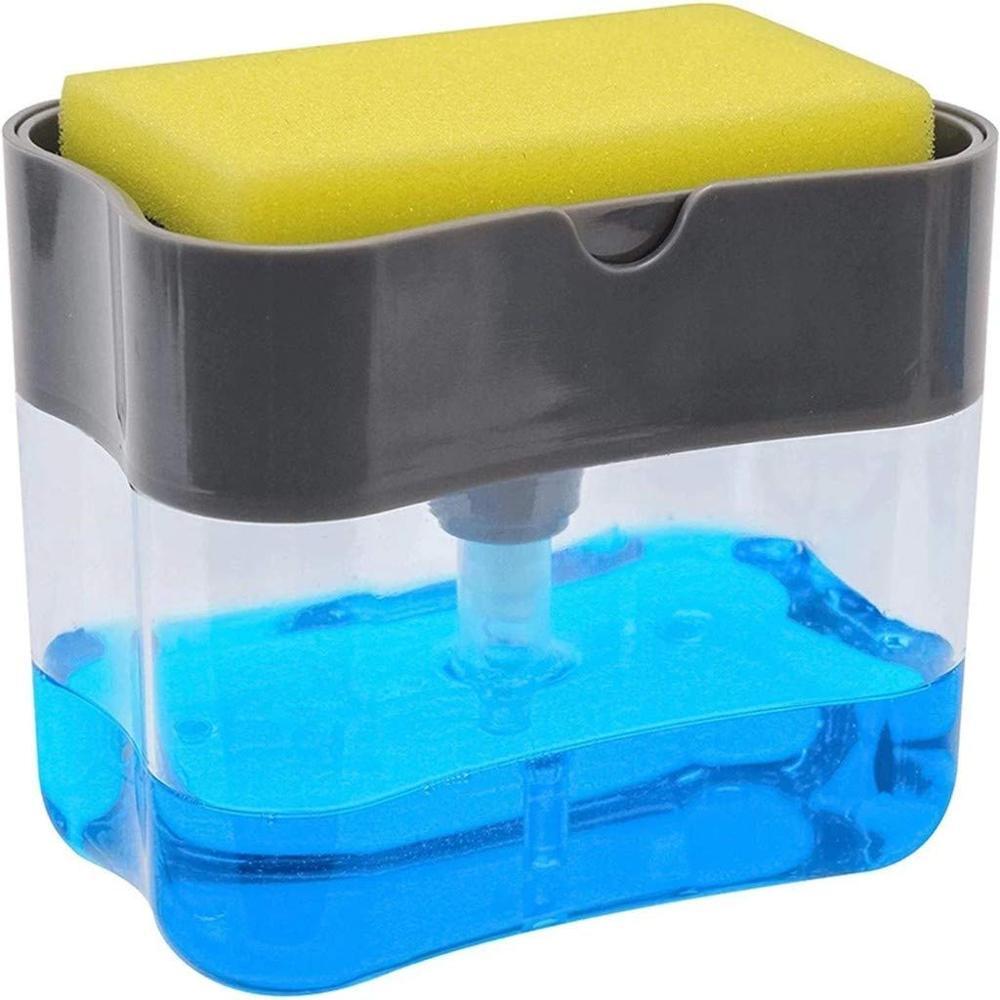 US $6.9 51% OFF|Manual soap dispenser Soap Pump Dispenser and Sponge Holder  Kitchen Dish Soap Dispenser Sponge Holder 2 in 1 on AliExpress