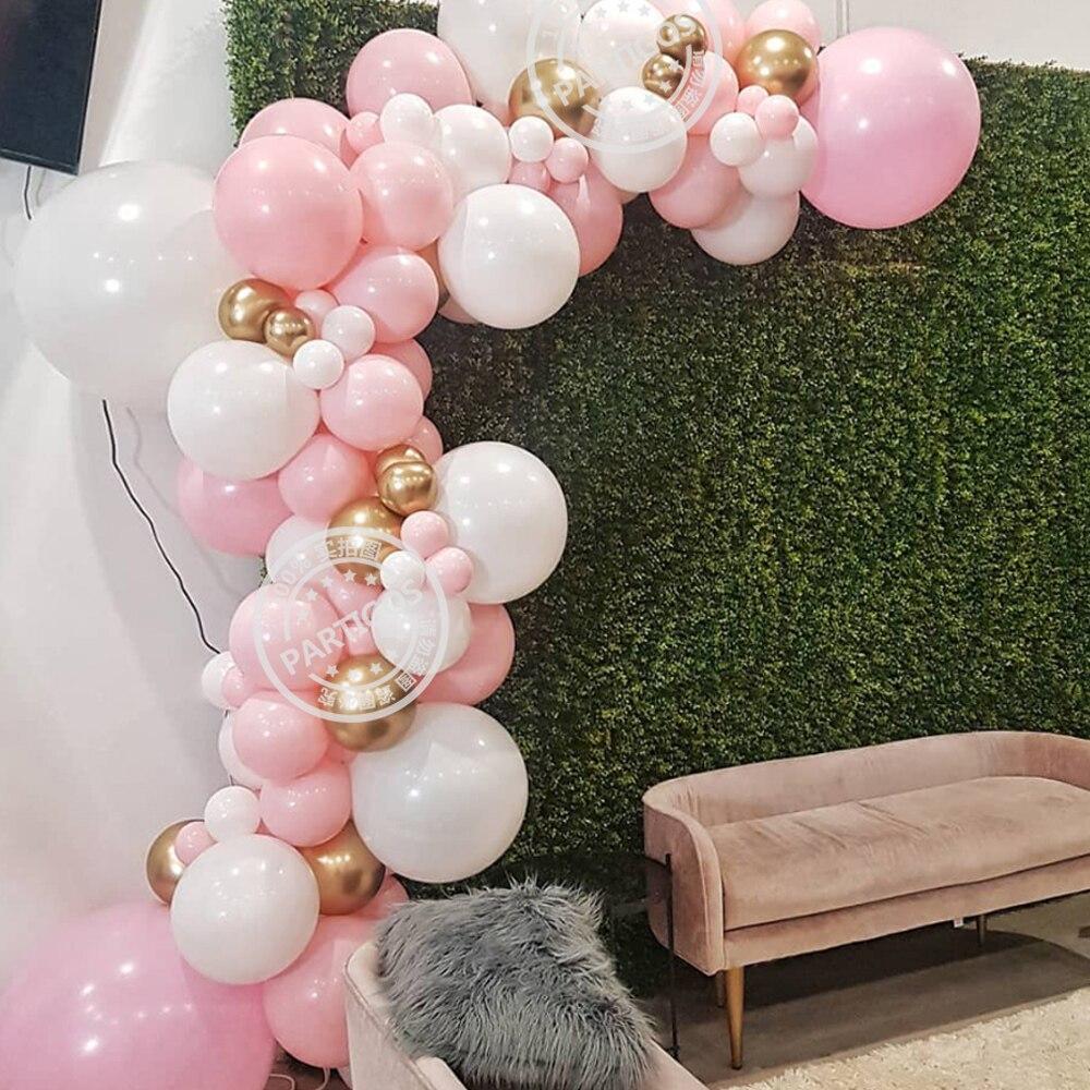 95 Pçs/set Kit Arco de Ouro Branco Rosa Guirlanda Balão de Látex Balões de ar para o fornecimento de decorações da festa de aniversário do chuveiro de bebê menina