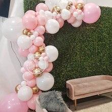 95 unids/set Rosa globo guirnalda arco de oro blanco de látex globos de aire bebé ducha cumpleaños decoraciones bodas fiestas de