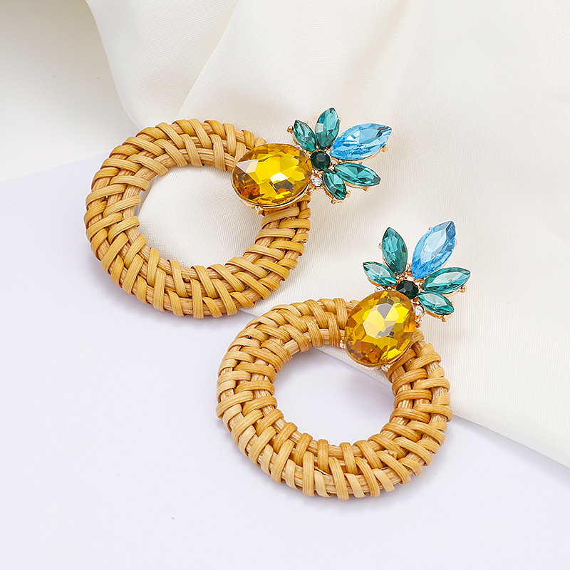 AENSOA Simple Pineapple Rattan Drop Earrings For Women Unique Wood Geometric Earrings Fashion Jewelry Gift Pendientes