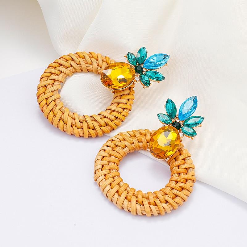 AENSOA Simple Pineapple Rattan Drop Earrings For Women Unique Wood Geometric Earrings Fashion Jewelry Gift Pendientes
