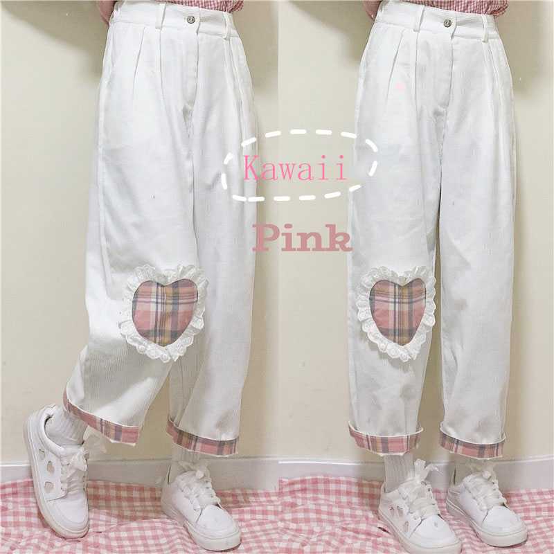 Japanese Harajuku Wild Cute Soft Sister Casual Corduroy Kawaii Straight Pants Teen Girls Love Heart Patch Loose Students Pants