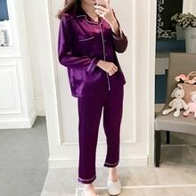 Women Pajamas Sets Faux Silk Satin 2 Piece Autum F
