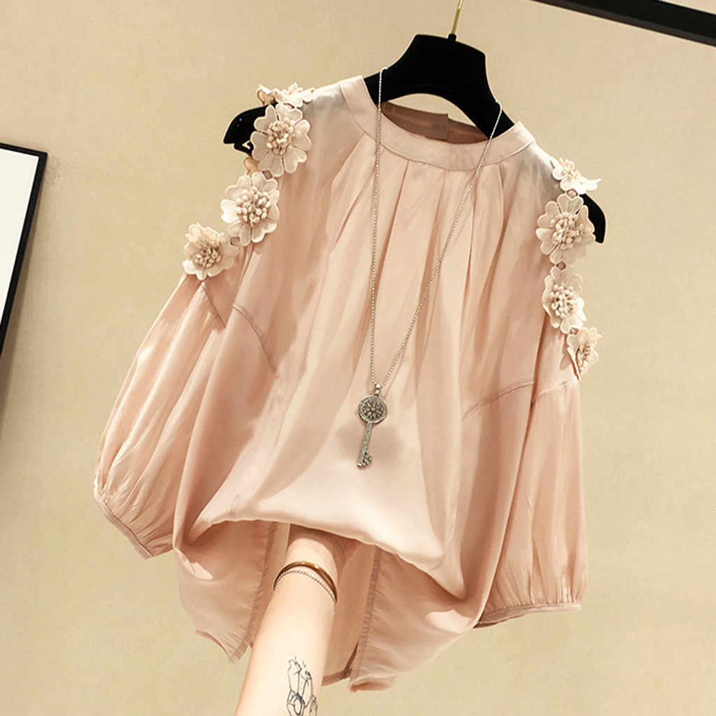 Kancoold T-shirt Fashion Wanita Trend Solid Leher O Lengan Setengah Bahu Dingin Appliques Longgar Lucu Baru Women2020FEB20