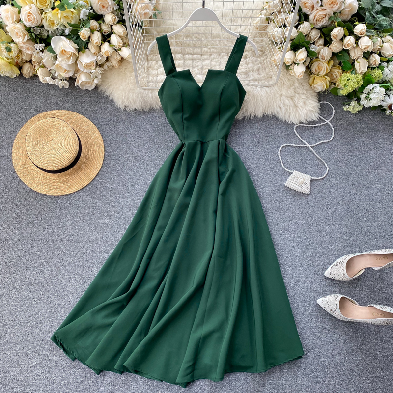 2020 High Quality Women Vintage Dress Summer Sleeveless Strapless Spaghetti Strap Dress Vestidos Party Vacation Beach Dress New image