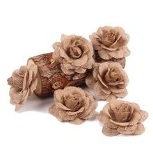 Свадебные Льняные ткани винтажные ручной работы мешковины розы украшения предметы для вечеринки, сувениры ремесло стимуляция ручной работы Цветы DIY