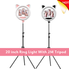 Cat Ear 20 inch LED Selfie Ring Light With 2M Tripod Stand Dimmable Photography Fill Lighting For Phone Makeup Video Youtube VK