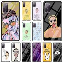 Caso de teléfono para Samsung Galaxy Nota 20 Ultra 10 Lite S20 FE S9 S10 S8 Plus de vidrio templado Funda cubierta Yo Perreo Sola conejito malo