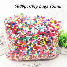 5000Pcs/big Bags 15MM Mix Color Pompom Plush Ball Cloth Craft DIY Soft Pompom Ball Furball Sewing Supplies Home Decoration pompom