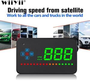 Image 1 - A2ミラーgps hudヘッドアップディスプレイ車スピードフロントガラスプロジェクター自動スピードメーターkmh/kpmユニバーサルデジタルスピードメーター