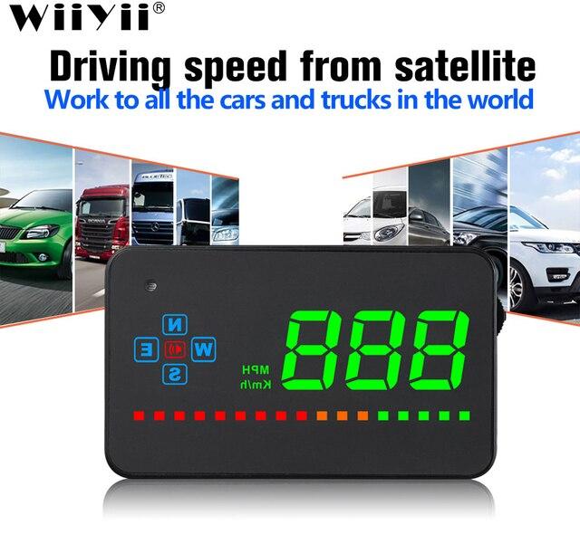 A2ミラーgps hudヘッドアップディスプレイ車スピードフロントガラスプロジェクター自動スピードメーターkmh/kpmユニバーサルデジタルスピードメーター