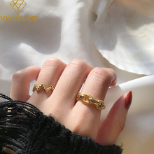 XIYANIKE 925 Sterling Silver Round Bead Chain Wavy Geometric Ring Open Ring Women's Men's Gold Silver Party Jewelry Fashion