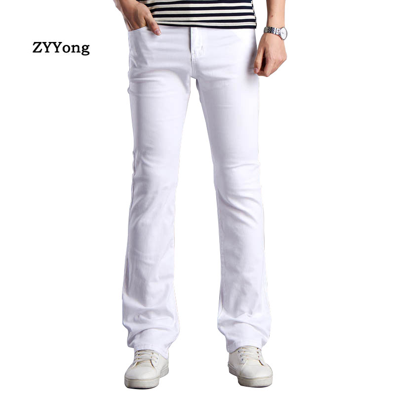 ZYYong Spring New Flared Pants Men's Business Casual Slim Bootcut Flared  White  Brown Khaki  Black Men Trousers Size28-38