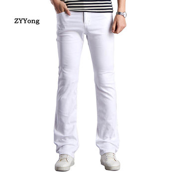 ZYYong Spring New Flared Pants Mens Business Casual Slim Bootcut  White Brown Khaki Black Men Trousers Size28-38