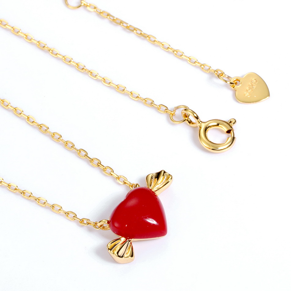 ALLNOEL Real 925 Sterling Silver 9K Gold synthetic coral Heart Pendant Necklaces Jewelry Gift For Women Fine Jewelry 2019 NEW  (7)