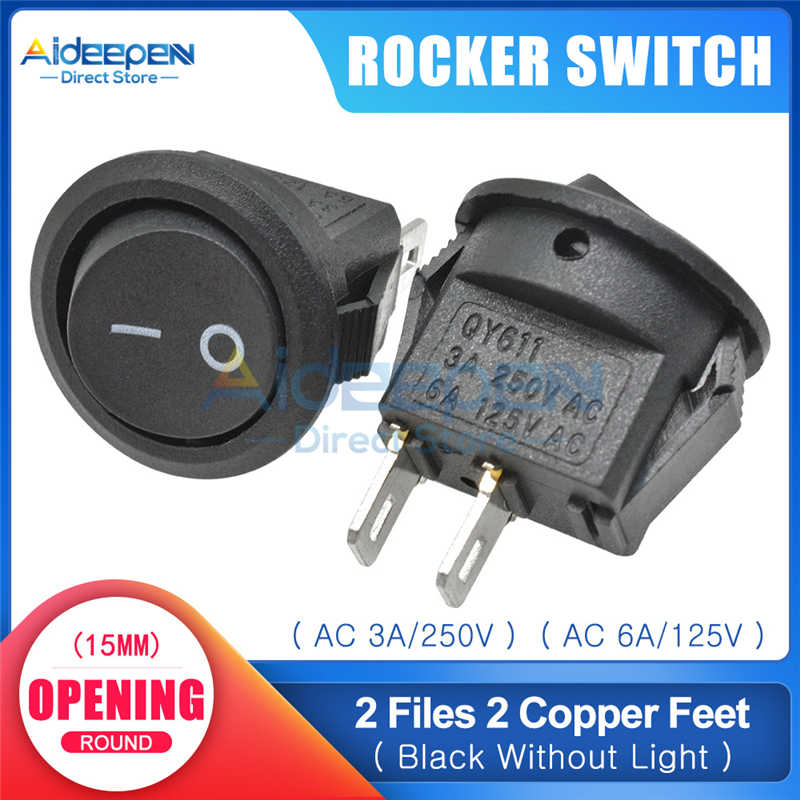 KCD1 15mm AC 3A/250V 6A/125V bateau interrupteur à bascule marche-arrêt 2 fichiers 2/3 cuivre pieds bouton interrupteur avec LED lumière