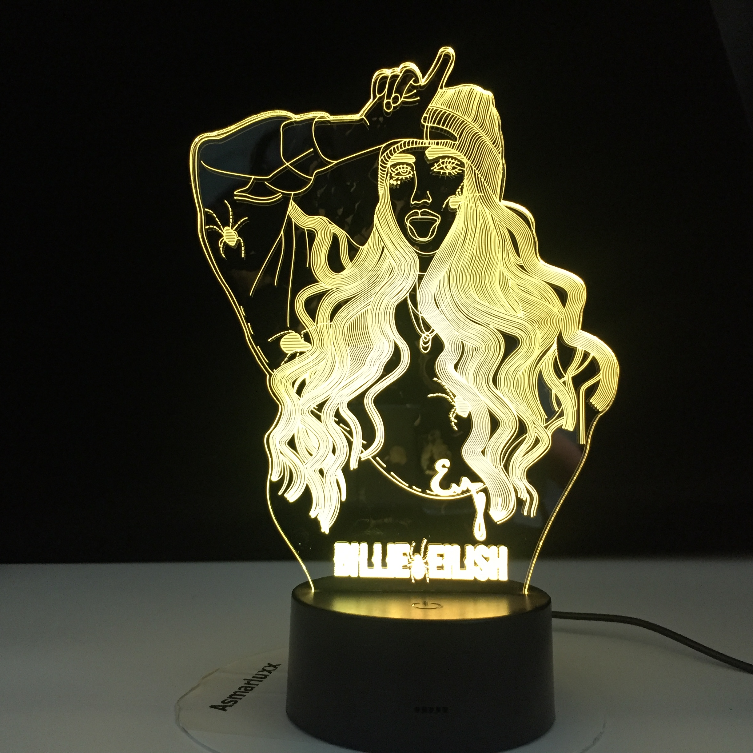 Billie Eilish Popular Singer 3D LED Lamp Illusion 7 Colors Changing Table Night Light Baby Bedside Decoration Lamp DropShipping