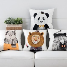 Cute Animals Velvet Pillow Lion Panda Fox Pattern Printing Throw Cushion Cover Bedroom Sofa Home Soft Decoration 45*45cm 1 PC