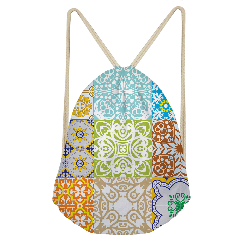 THIKIN Colorful Window Grille Pattern Print Drawstring Bag Women Small Daily Pouch Pretty Beach Bags Easy Backpack Custom 2019