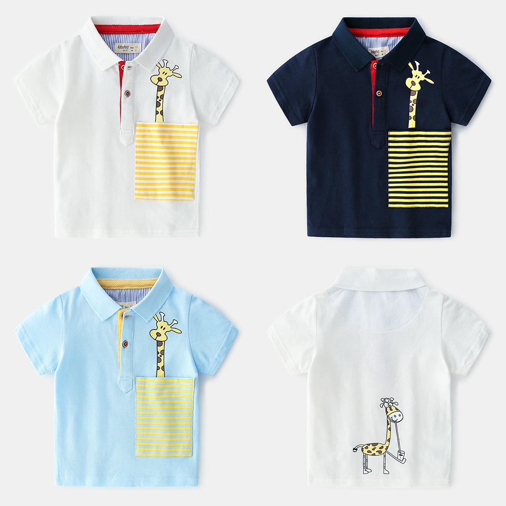 New Style Summer Childrenswear BOY'S Children Printed Cartoon Pure Cotton Short-sleeved T-shirt Tops Polo Shirt