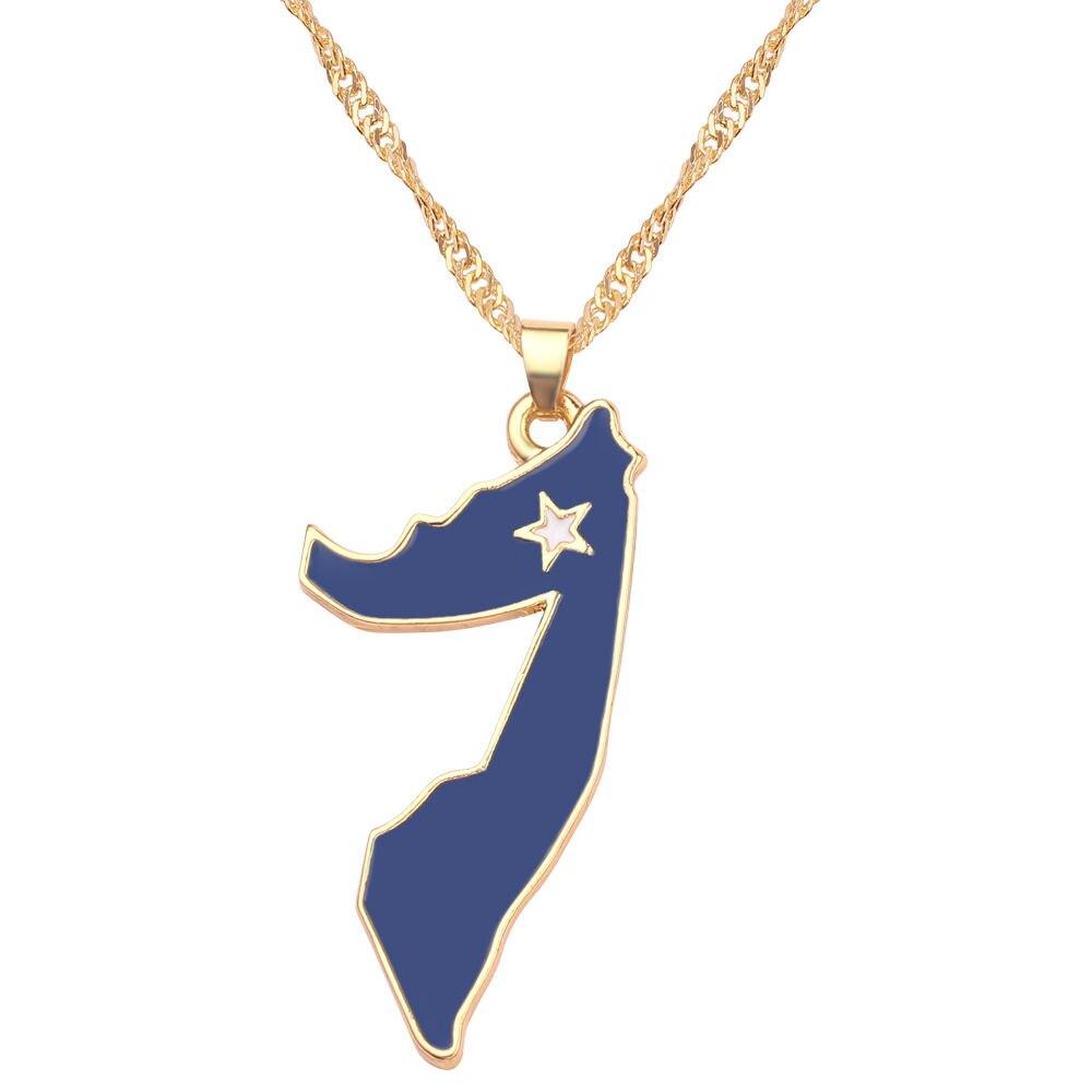Новая карта страны, флаг, ожерелье, Африка, Гана, Liberia Undersea, Jamaica, Южная Африка, Congo, Honduras, подвеска, цепь, мужские ювелирные изделия - Окраска металла: Somalia