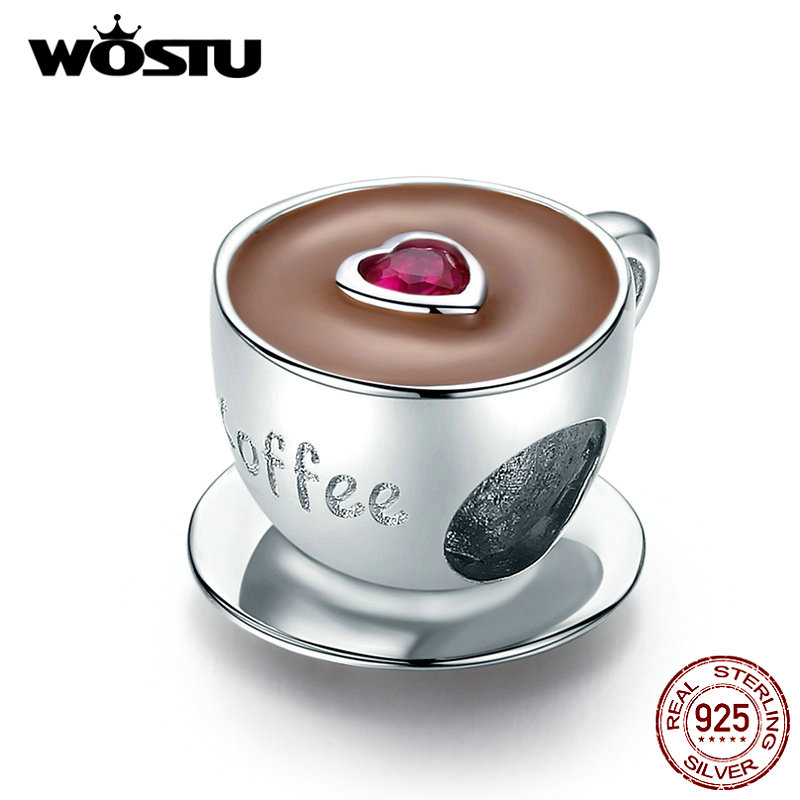 WOSTU Hot Sale Real 925 Sterling Silver Cute Heart Coffee Cup Beads Fit Original Silver Charm Bracelet Jewelry CQC1286
