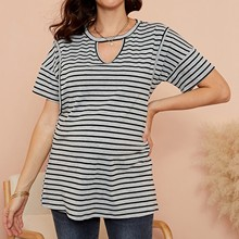 Blouses-Top Pregnant-Women Maternity Mom for Hollowout Round-Neck Prints Hollowout