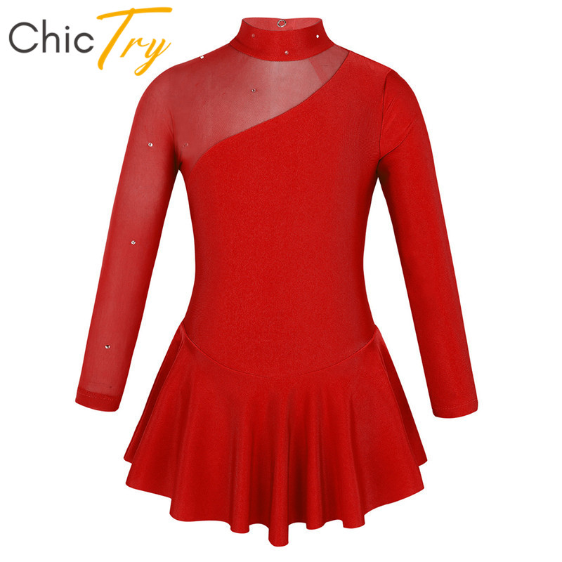 ChicTry Kids Teens Rhinestones Tulle Long Sleeves Ballet Gymnastics Leotard Girls Competition Dance Costume Figure Skating Dress